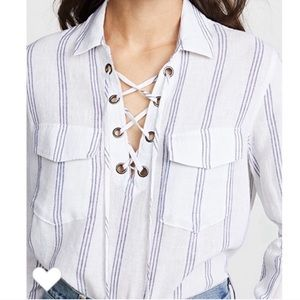 RAILS Lace up white blue striped Linen Shirt